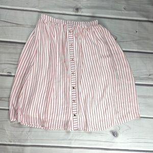 Ya Las Angeles | Red & White Striped Flared Skirt